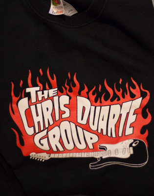 CDG Flames and Guitar logo tee